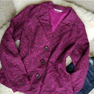 CAbi Plum Lace Frolic Jacket